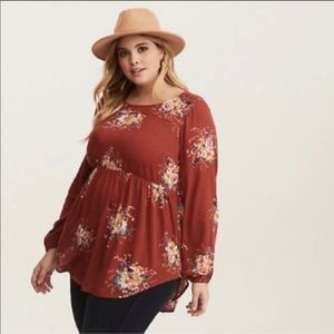 Torrid Burnt Orange Empire Waist Fall Floral Top